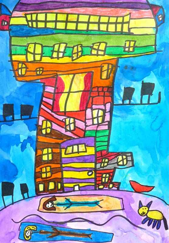 """2ND OVERALL Edith Kaplan, First Grade NE Miles Jewish Day School Marsha Henderson """"My dream house is behind a lake. My sister lives in the house with me and we have a little cat. I designed my house with colored wood. My house is slanted."""""""